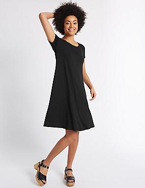Short Sleeve Skater Dress, BLACK MIX, catlanding