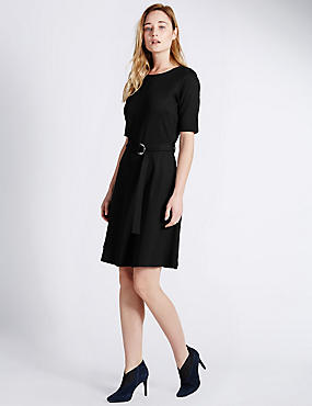 D Ring Belted Skater Dress