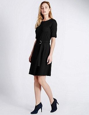 D Ring Belted Skater Dress, BLACK, catlanding