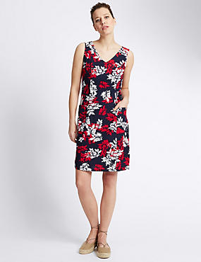 Linen Blend Leaf Print Shift Dress