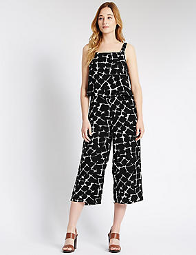 Crackle Print Sleeveless Jumpsuit, BLACK MIX, catlanding