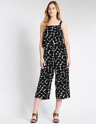 Tailored Fit Crackle Print Jumpsuit, BLACK MIX, catlanding