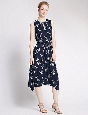 PETITE Floral Midi Dress, NAVY MIX, catlanding
