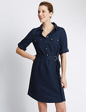 Linen Blend Belted Shirt Dress