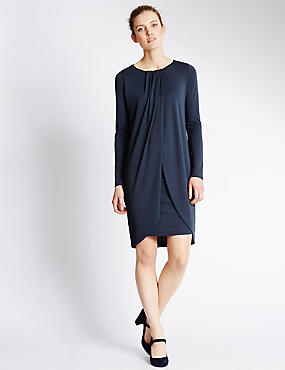 Front Pleat Drape Shift Dress