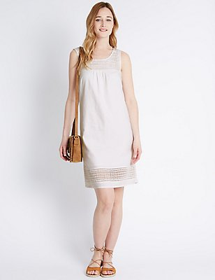 Linen Blend Sleeveless Shift Dress , SOFT WHITE, catlanding