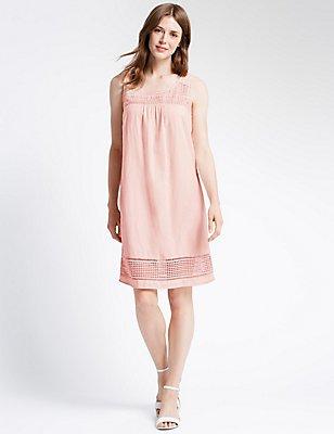 Lace Trim Sleeveless Shift Dress, PINK, catlanding