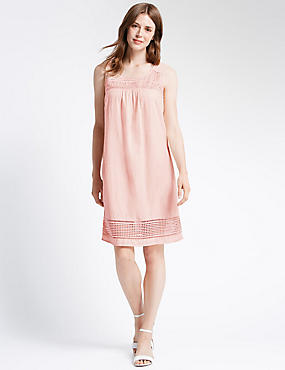 Lace Trim Sleeveless Shift Dress, PINK, catlanding