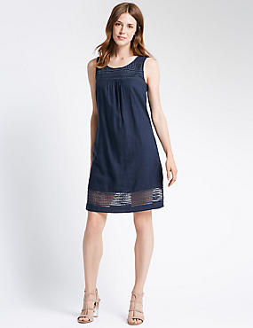 Lace Trim Sleeveless Shift Dress, LIGHT NAVY, catlanding