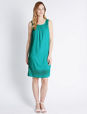 Linen Blend Tailored Fit Shift Dress, JADE, catlanding