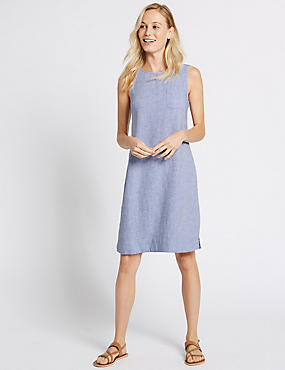 Linen Rich Pocket Shift Dress, CHAMBRAY, catlanding