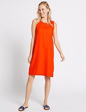 Linen Blend Tunic Dress, RED, catlanding