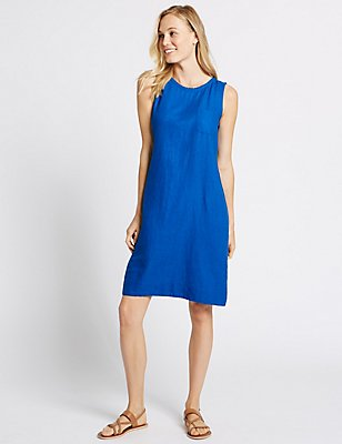 Linen Blend Tunic Dress, COBALT, catlanding