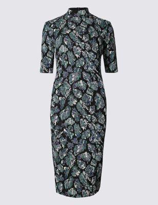 Платье-бодикон из люрекса с вырезом на спине