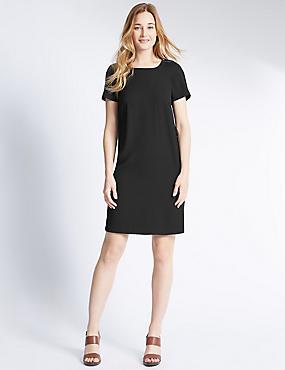 Loose Fit Short Sleeve Woven Dress, BLACK, catlanding