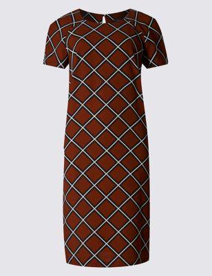 Платье-туника свободного кроя в контрастный ромб