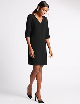 3/4 Sleeve Tunic Dress, BLACK, catlanding