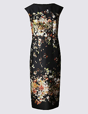 Printed Scuba Lined Bodycon Dress, BLACK MIX, catlanding