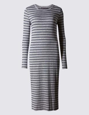 Трикотажное платье-миди в полоску с добавлением эластана
