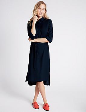 Soft Shirt Dress with Belt, NAVY, catlanding