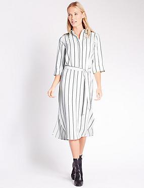 Striped Shirt Dress, WHITE MIX, catlanding