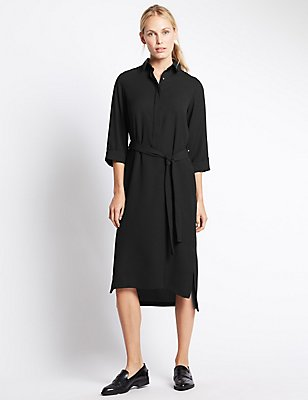 3/4 Sleeve Shirt Dress with Belt, BLACK, catlanding