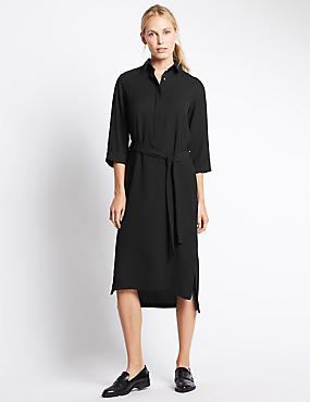 3/4 Sleeve Shirt Dress with Belt, BLACK, catlanding