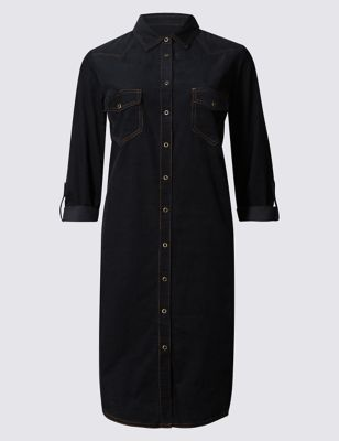 """Платье-рубашка из чистого хлопка """"деним-стиль"""" M&S Collection T422788"""