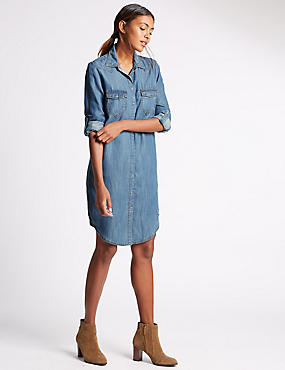 Loose Fit Denim Shirt Dress, DENIM, catlanding