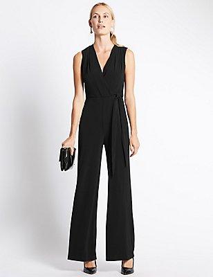 Jersey Sleeveless Jumpsuit, BLACK, catlanding