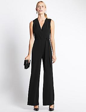 Tailored Fit Sleeveless Jumpsuit, BLACK, catlanding