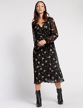 Floral Print Midi Dress, BLACK MIX, catlanding