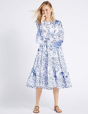 Printed Flared Sleeve Skater Midi Dress, IVORY MIX, catlanding