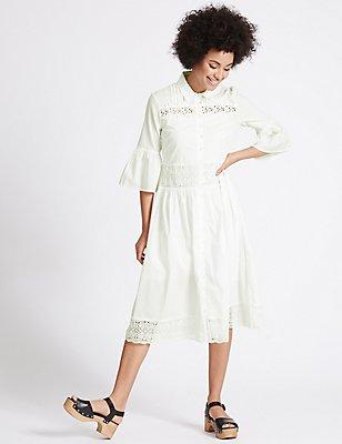 Pure Cotton Lace Trim Flared Shirt Dress, IVORY, catlanding