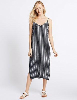 Striped Slip Midi Dress, , catlanding