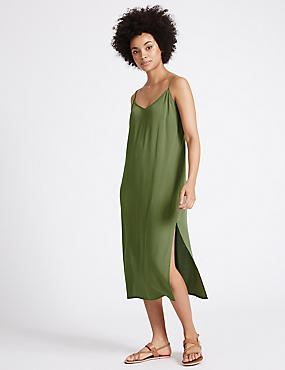 Side Split Slip Midi Dress, KHAKI, catlanding