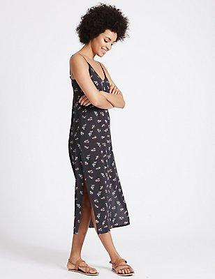Ditsy Print Slip Midi Dress, NAVY MIX, catlanding