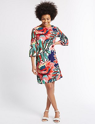 Floral Print Flared Sleeve Tunic Dress, MULTI, catlanding