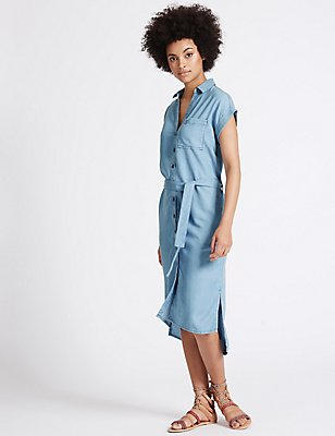 Turn-up Sleeve Shirt Dress with Belt, DENIM, catlanding