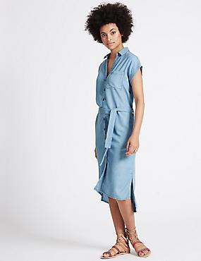 Robe midi style chemise à manches courtes avec ceinture, DENIM, catlanding