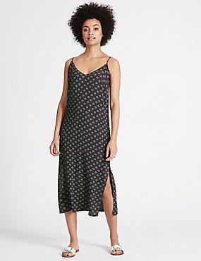 Geometric Print Slip Midi Dress, NAVY MIX, catlanding