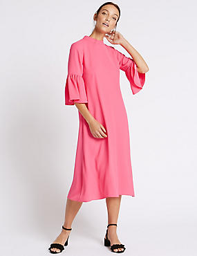 Tie Back Flared Sleeve Tunic Midi Dress, PINK, catlanding
