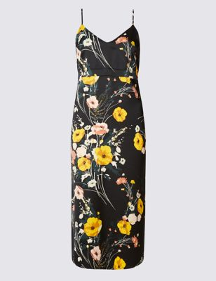Сатиновое платье на бретельках в цветочек M&S Collection T422878