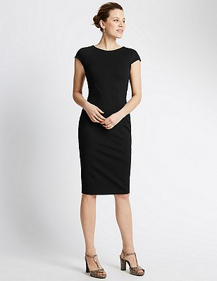 Nauwsluitende ponte-jurk die de lichaamsvormen accentueert, ZWART, catlanding