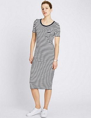 Striped Midi Dress, NAVY MIX, catlanding