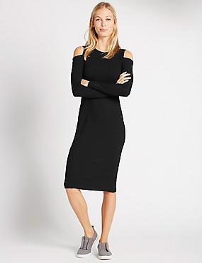 Bodycon-jurk met open schouder, ZWART, catlanding