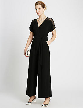 Lace Sleeve Belted Wrap Jumpsuit, BLACK, catlanding