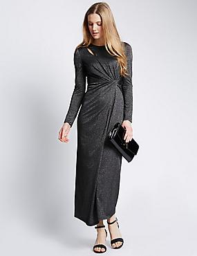 Metallic Effect Twisted Maxi Dress, SILVER, catlanding
