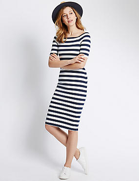 Striped Slash Neck Bodycon Dress