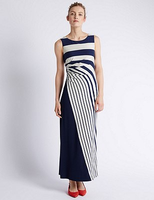 Graded Striped Maxi Dress, NAVY MIX, catlanding